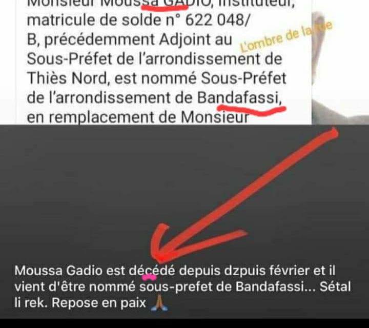 SOUS-PREFECTURE DE BANDAFASSI  – Macky Sall nomme une personne… décédée